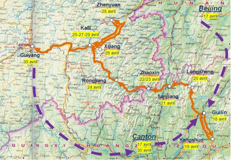 Guizhou travel map